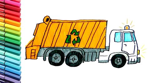 garbage truck color pages  kids   draw street vehicles trucks  children youtube