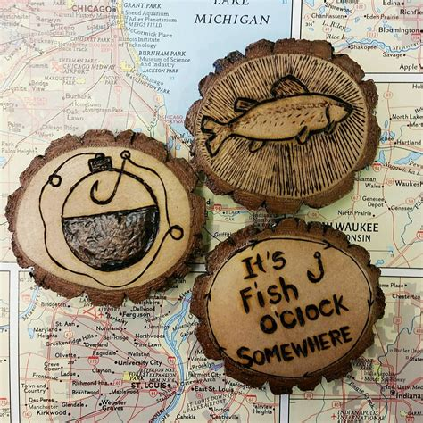 kind wood burned fishing magnets