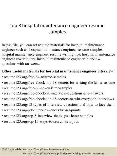 top 8 hospital maintenance engineer resume sles