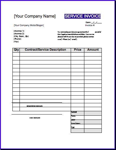 labour invoice template invoice