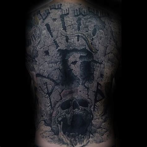 Stonework Style Black Ink Back Tattoo Big Wall With