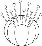 Sewing Cushion Clipart Line Pincushion Clip Needle Outline Cushions Drawings Graphics Sweetclipart Coloring Drawing Embroidery Stitches Transparent Cliparts Clipground Supplies sketch template