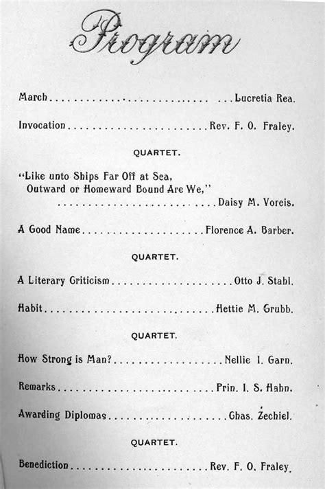 the culver schools 581 | 1899 culver high school graduation program may 12 reformed church 03