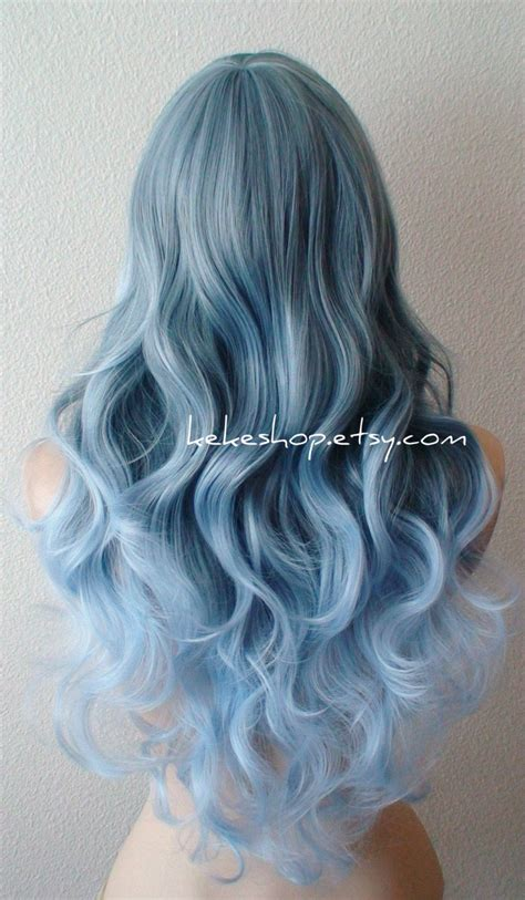 Lace Front Wig Ombre Wig Blue Ombre Wig Pastel Silver Blue