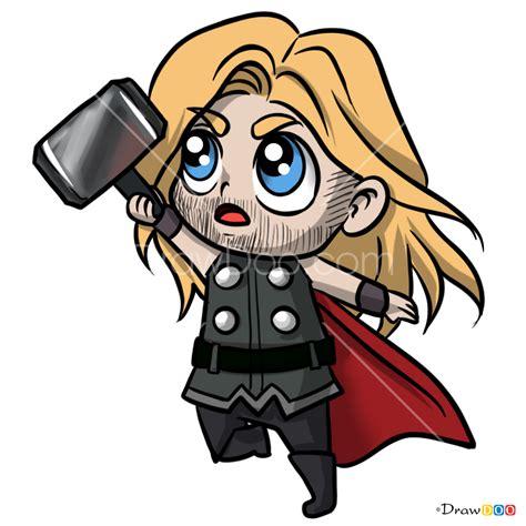 draw thor chibi superheroes