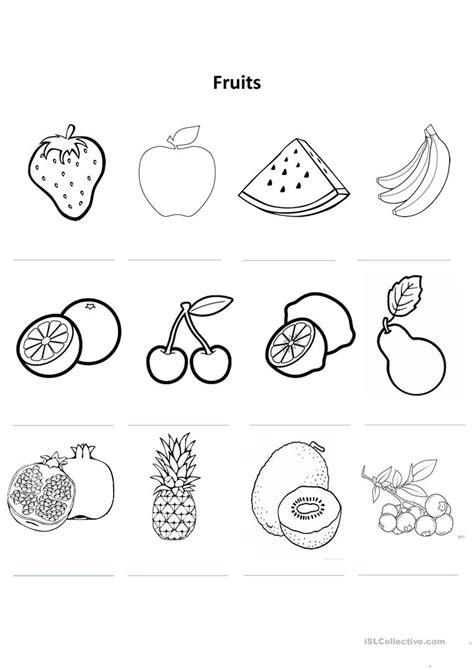 fruit colouring worksheet worksheet free esl printable