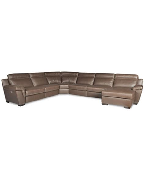 macys leather sectional sofa julius 6 piece leather sectional with chaise 2 power