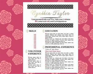Gold pink black resume girly resume pinterest by for Girly resume templates