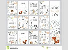 Chic Monthly Calendar 2019 With Squirrel, Fox, Bear, Skunk