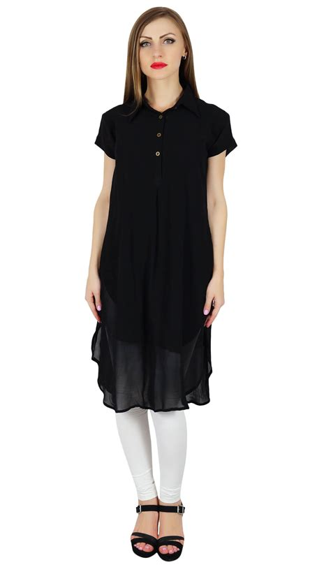 Bimba Women Black Georgette Tunic Short Kurta Kurti Casual Blouse Summer Wear | eBay