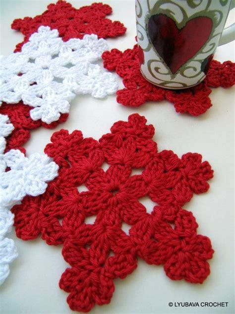 crochet snowflake coaster  lyubava crochet