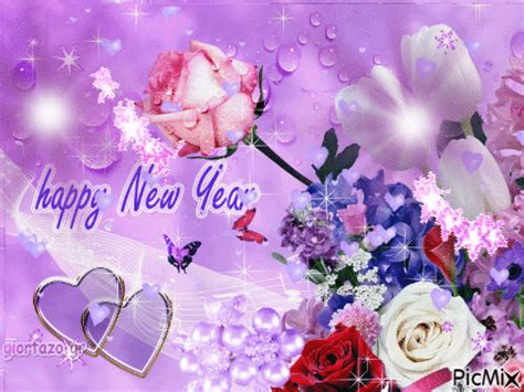 happy  year gif  flowers  hearts pictures