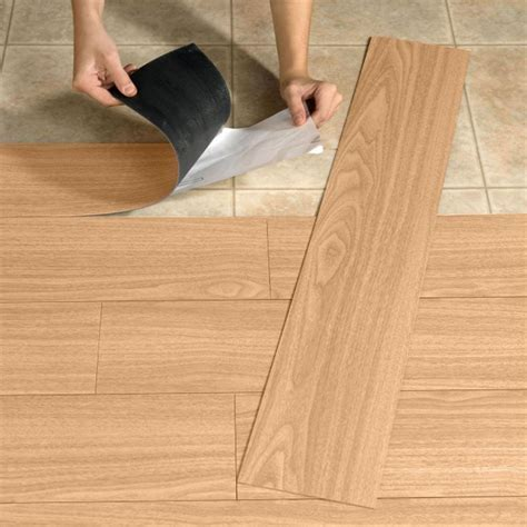 Floor Design: Magnificent Light Oak Wood Peel Stick Vinyl