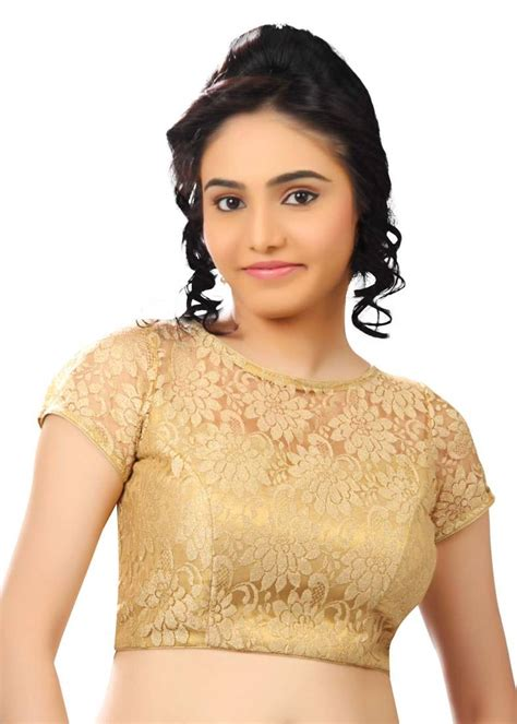 buy gold net readymade blouse