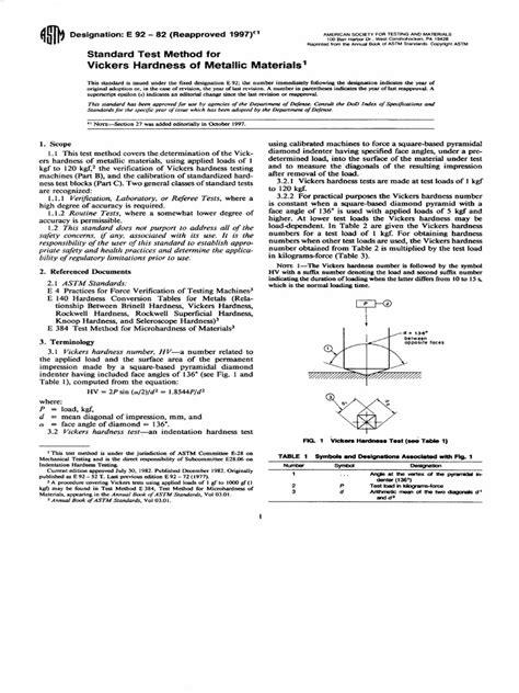 Astm e92 Vickers Hardness of Matallic Materials