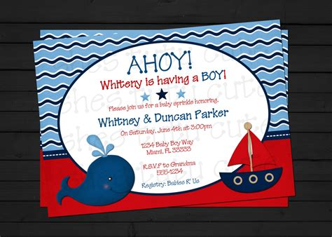 nautical theme baby shower invitations dolanpedia