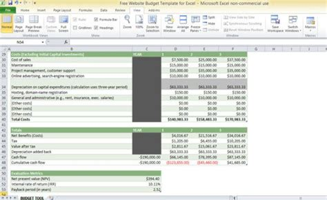 website budget template  excel