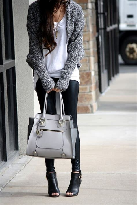 grey wear street leggings bag outfit cardigan shirt outfits leather winter handbag gray fall sweater autumn pants wearing open robyn