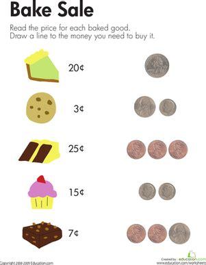 bake sale  images money worksheets money math