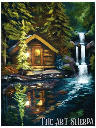 Acrylic Cabin Sherpa Waterfall Lake Paint Painting