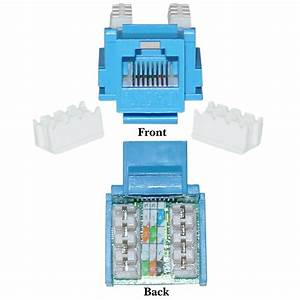 Cat5e Keystone Jack  Blue  Rj45 Female To 110 Punch Down