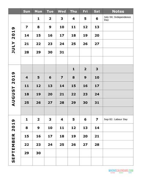 quarterly calendar printable quarter  july