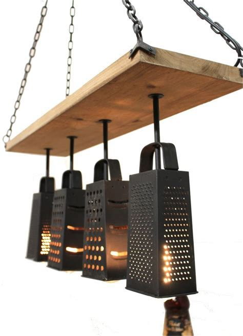 Kitchen Light Fixture Made frm Cheese Graters Old