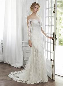 glamour mermaid illusion neckline v back long sleeve tulle With illusion sleeve wedding dress