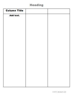 graphic organizer  column chart printable word