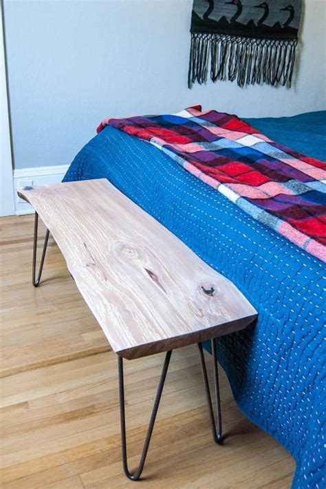 diy  edge wood bench  hairpin legs