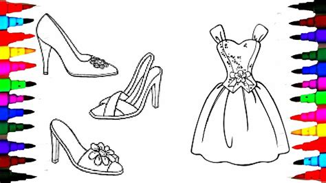 coloring pages barbie dress  shoes coloring book