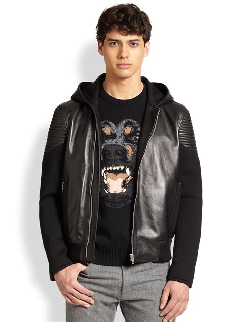 Lyst - Givenchy Neoprene Leather Hoodie in Black for Men