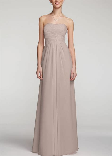 biscotti color david s bridal strapless chiffon dress wpleated