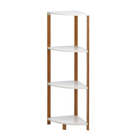bamboo corner shelf display stand  white shelves ebay
