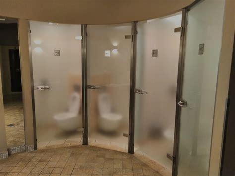 super awkward semi transparent bathroom stall doors