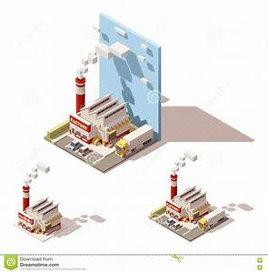 Vector Isometric Factory Building With Smoking Pipe Icon ...