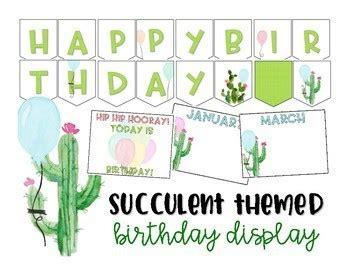 editable birthday display succulent cactus classroom