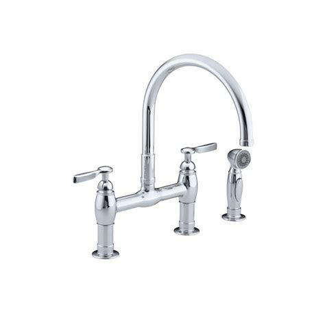 bridge faucet kitchen kohler parq 2 handle bridge kitchen faucet with side