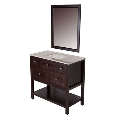 Allen Roth Cabinet by St Paul Ashland 36 Inch W Vanity In Chocolate Finish With
