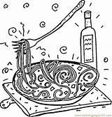Coloring Spaghetti Italian Pasta Italy Printable Restaurant Coloringpages101 Getcolorings Cartoon Popular Supercoloring sketch template