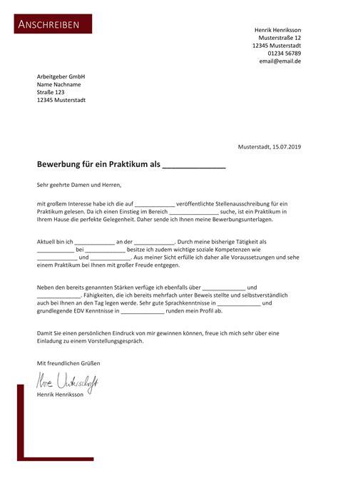 Vorlage Bewerbungsschreiben by Bewerbungsvorlagen 82 Gratis Word Vorlagen