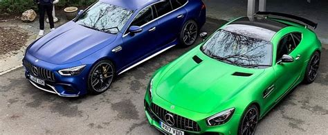If you've ever heard of the one car, you might be a car nerd. Blue AMG GT 63 S Four-Door Looks Good Next to Green AMG GT R Coupe - autoevolution