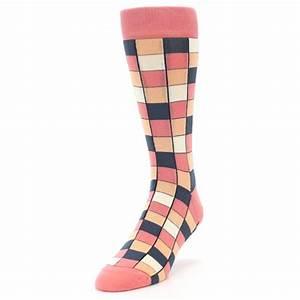 Coral Peach Checkered Men's Dress Socks Statement Sockwear