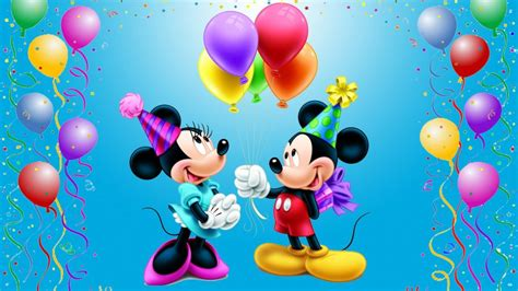 mickey mouse happy birthday minnie celebration balloons