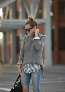 Hemd Pullover Kombination : grauer sweater in kombination mit einem gestreiften hemd gutscheine mode ~ Frokenaadalensverden.com Haus und Dekorationen
