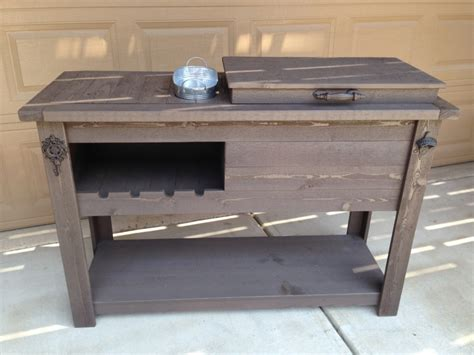 rustic cooler wine table outdoor bar rustic