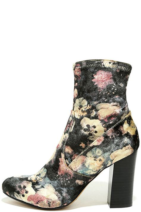 report liria boots velvet floral print boots stretchy
