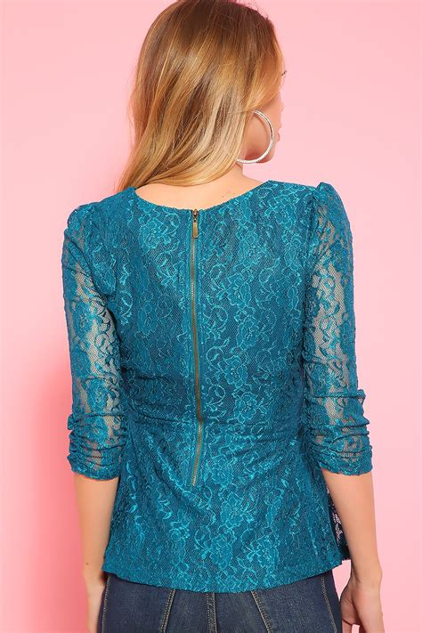 Sexy Teal Lace Peplum Long Sleeve Dressy Top