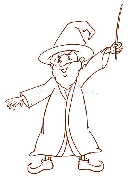 een eenvoudige tekening van een tovenaar vector