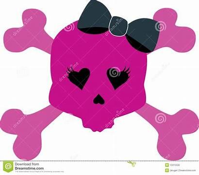 Skull Bow Pink Girly Clip Cross Clipart